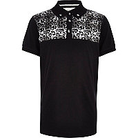 Boys black leopard print yoke polo shirt