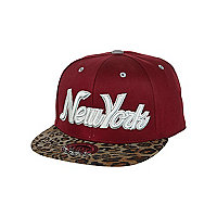Boys dark red leopard New York trucker hat