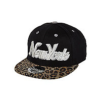 Boys black leopard print New York trucker hat