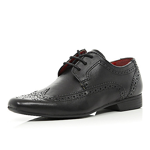 Boys black pointed smart brogues