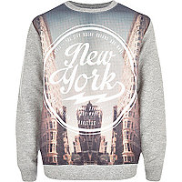 Boys grey marl New York tower sweatshirt