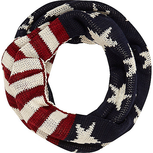 Boys navy stars and stripes snood