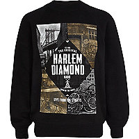 Boys black Harlem diamond sweatshirt