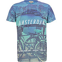 Boys blue Amsterdam cosmic print t-shirt
