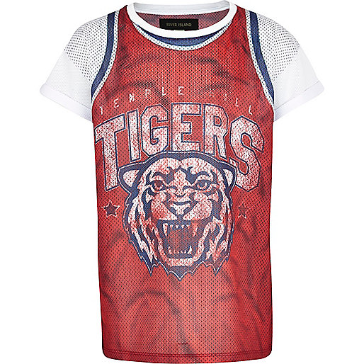 Boys red tigers mesh basketball t-shirt
