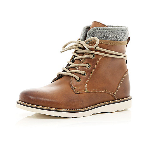 Boys tan lace up worker boots