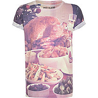 Boys white Christmas dinner print t-shirt
