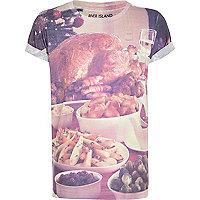 Boys white Christmas dinner print t-shirt