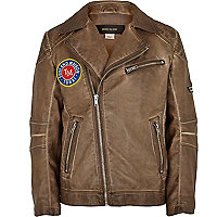 Boys brown PU aviator jacket