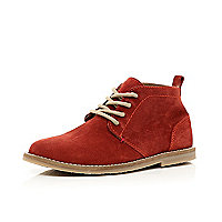 Boys dark red desert boots