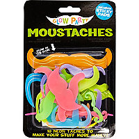 Boys black glow in the dark moustaches