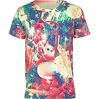 Boys white Christmas baubles print t-shirt