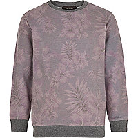 Boys purple hibiscus print sweat shirt