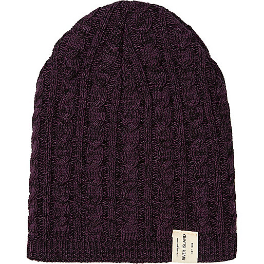Boys purple cable knit twist beanie