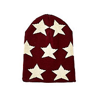 Boys dark red star beanie hat