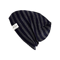 Boys navy striped beanie