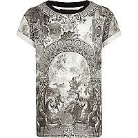 Boys white baroque print t-shirt
