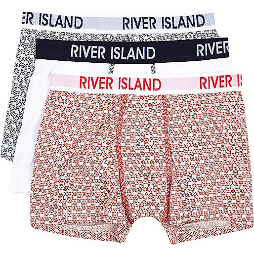 Boys red 3 pack tile print underwear