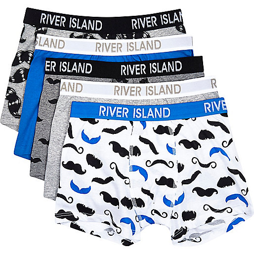 Boys white moustache 5 pack underwear