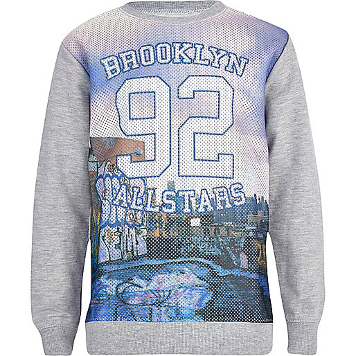 Boys grey marl Brooklyn allstars sweatshirt