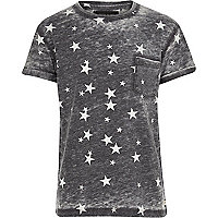 Boys grey star print burnout t-shirt