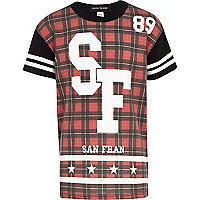 Boys red san fran 89 tartan t-shirt