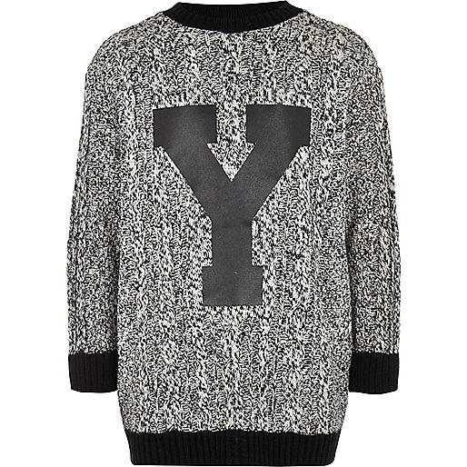 Boys grey block Y knit jumper