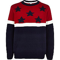 Boys navy stars and stripes jumper