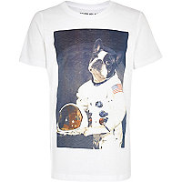 Boys white Astronaught dog t-shirt