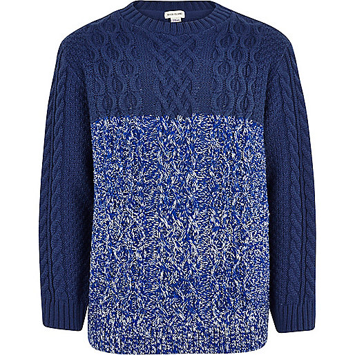 Boys blue twist block cable knit jumper