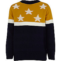 Boys navy blue stars and stripe jumper
