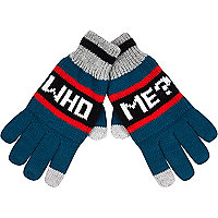 Boys green who me gloves