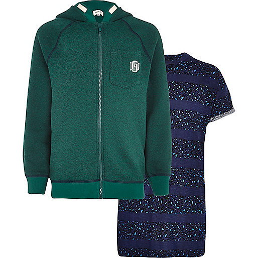 Boys green hoodie and leopard stripe t-shirt
