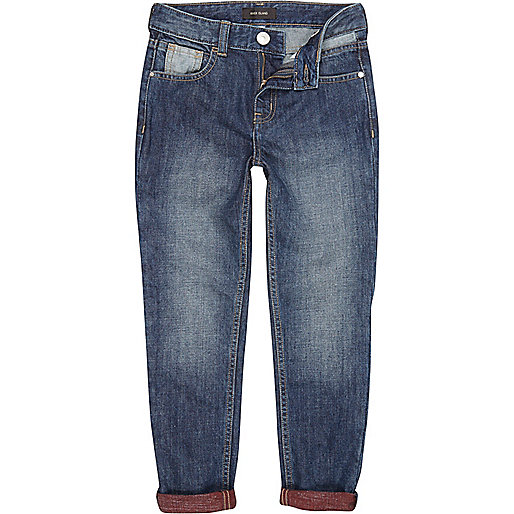 Boys mid wash slim tapered jeans