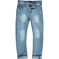 Boys bleach wash tapered jeans