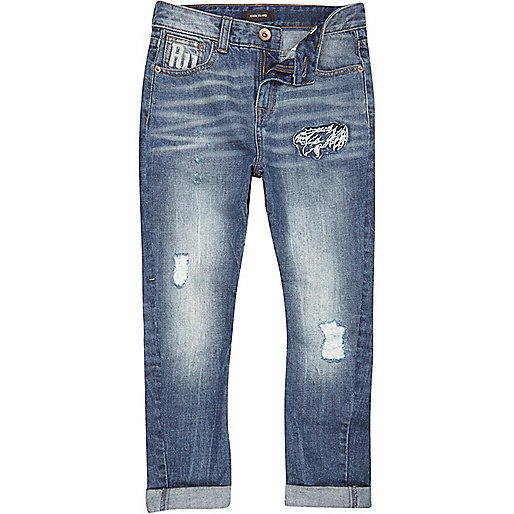 Boys mid wash signature RI tapered jeans