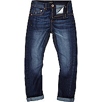Boys mid wash slim chester tapered jeans