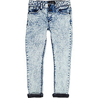 Boys acid wash skinny tapered jeans
