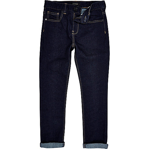 Boys dark sid super skinny raw wash jeans