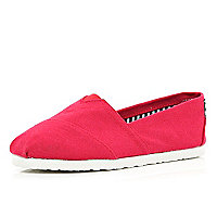 Boys red slip on plimsolls