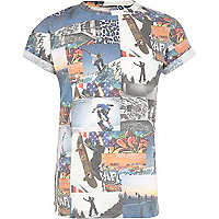 Boys blue skate back number print t-shirt