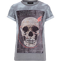 Boys grey skull woven panel t-shirt