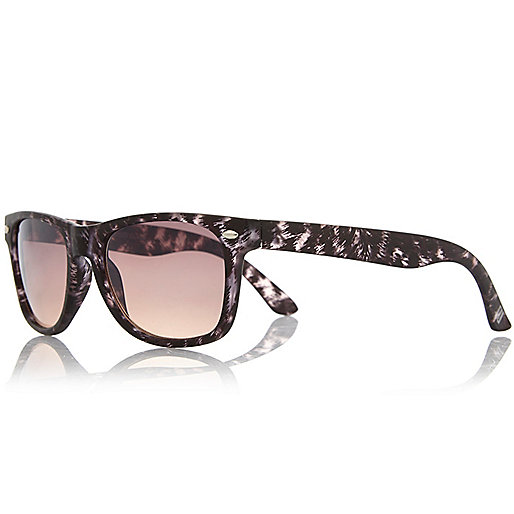 Boys brown animal print retro sunglasses