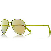 Boys lime fluro aviator sunglasses