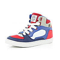 Boys red contrast panel high tops