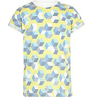 Boys yellow geometric print t-shirt