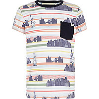 Boys white bright city stripe pocket t-shirt