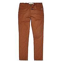 Boys rust 5 pocket skinny chinos