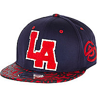 Boys navy LA geo print trucker hat
