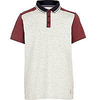 Boys red and cream blocked polo shirt